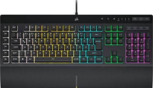 Corsair K55 RGB PRO Kabelgebundene Membran-Gaming-Tastatur (Dynamische RGB-Hintergrundbeleuchtung, 6 Makro-Tasten mit Elgato Software-Integration, IP42 Staub-und Spritzwasserschutz) QWERTZ, Schwarz