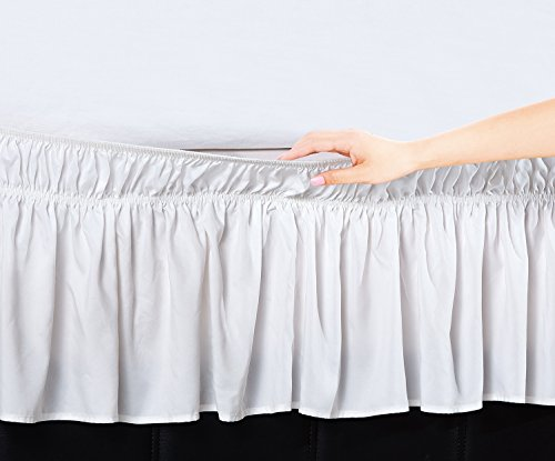 Elegant Comfort Luxury Wrinkle Resistant -Wrap Around Style- Elastic Bed Wrap Ruffled Bed Skirt 16inch Drop, Queen/King, White