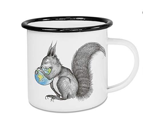 Ligarti Taza esmaltada, para camping, camping, café, taza de café, taza de metal, diseño de ardilla con el mundo de las ardillas (300 ml)