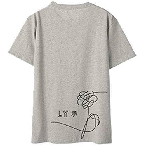 SERAPHY WOOKIT Unisex KPOP T-Shirt Love Yourself Birthday Tshirts Suga Jin Jimin Jung Kook J-Hope Rap-Monster V Grau XL