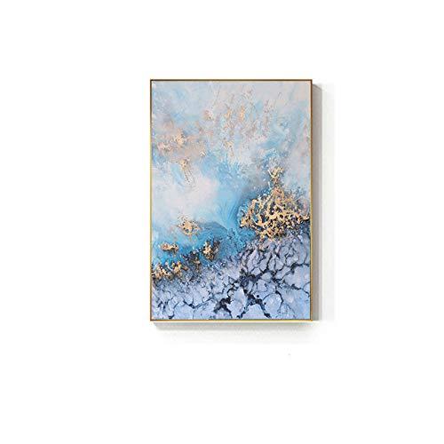 Fließende goldene blaue Leinwandmalerei Luxuriöse Plakate druckt Kunstwandbilder für Wohnzimmer-Dekor 60x90cm