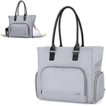 Luxja Breast Pump Bag with Pockets for Laptop and Cooler Bag, Leather Handle Breast Pump Tote for Working Mothers (Fits Most Major Breast Pump), Gray