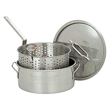 Bayou Classic 1101 10-Quart Stainless-Steel Fry Pot with Lid and Basket
