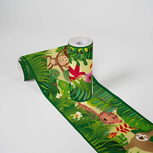 Kinderzimmer Bordüre selbstklebend Jungle Friends Wandbordüre mit niedlichen Dschungel Tieren für Babyzimmer und Kinderzimmer Wandtattoo für Mädchen und Jungen in grün, hellgelb, braun, lila
