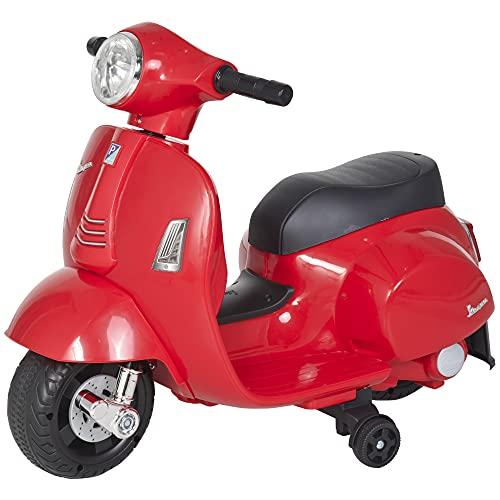 homcom Moto Elettrica per Bambini con Licenza Ufficiale Vespa Batteria 6V, Fari e Clacson, per Bimbi da 18-36 Mesi, Rosso, 66.5x38x52cm