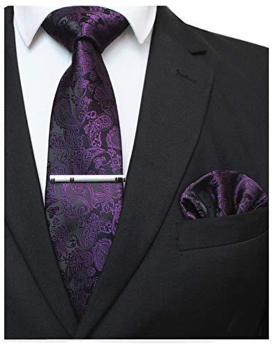 JEMYGINS Lila krawatte Paisley Seide Herren Krawatten und Einstecktuch mit krawattenklammer Sets (7)