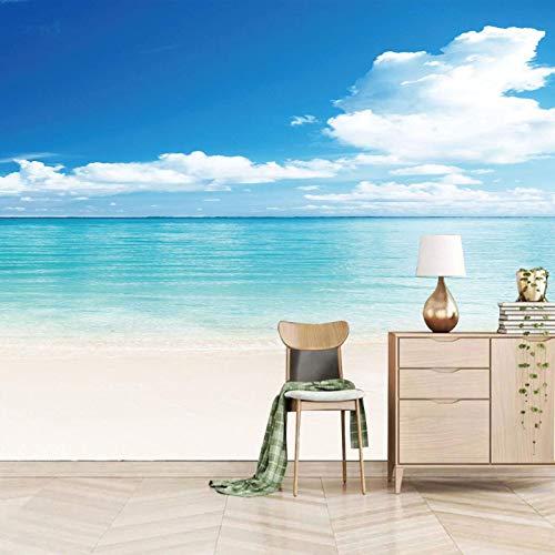 Msrahves Foto Mural Pared 3D Azul cielo nubes playa pared vinilos decorativos papel fotografico 3D Fondos de pantalla Fondo Pared Sala de estar Dormitorio TV Sofá Mural Papel tapiz