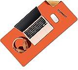 YHYGOO Alfombrilla de Ratón Grande, Gaming Mouse Pad, 80 x 40cm Estera del Escritorio de Oficina Antideslizante e Impermeable, Doble Cara de Cuero PU e Corcho Ecológico (Naranja)