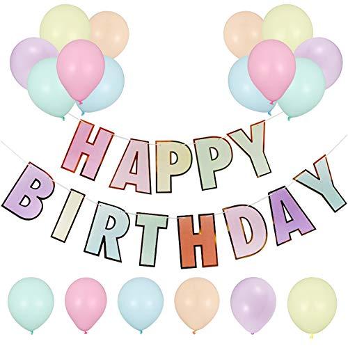 Auidy_6TXD Juego de pancartas para cumpleaños, guirnalda de 'Happy Birthday', con 30 globos para decoración de fiesta de cumpleaños