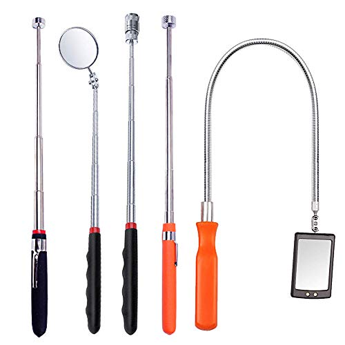 Telescoping Magnetic Pickup Tool, 5 Pieces Tool Mirror 5 lb/8 lb/10 lb Pick-Up Rod and Round/Square Inspection Mirror Set with LED Light, Telescoping Handle 360 Swivel for Viewing Dead Angle