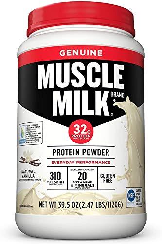 Muscle Milk Genuine Protein Powder, Natural Vanilla, 32g Protein, 2.47 Pound, 16 Servings