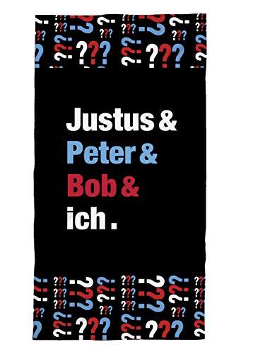 TexIdea Kinderstrandtuch Die DREI Fragezeichen 70 x 150 cm Baumwolle schwarz Badhandtuch Justus Peter Bob und ich