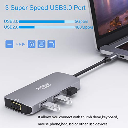 USB-C-Hub, Selore 8-in-1 Adapter USB C auf HDMI 4K, VGA, Port Typ C PD 100 W, 3 x USB 3.0 und SD-Kartenlesung, kompatibel mit MacBook Pro/MacBook Air 2018/ChormeBook/Tablet USB-C