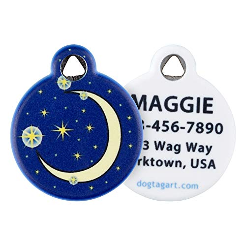 Dog Tag Art Cat or Dog Tag, Personalized Name Tag for Pets (Moon and Stars)-Small