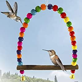 SunGrow Hummingbird Swing Perch, 8.5 Inches (Height) 6 Inches (Length), Wooden Dowel Makes for Perfect Resting Spot, Colorful Beads