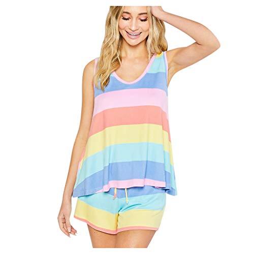 Damen Sexy Nachtwäsche Regenbogen Streifen Kurzarm Pyjama Set Nacht Lounge Top Kurzes Schlafhemd Schlafkleid