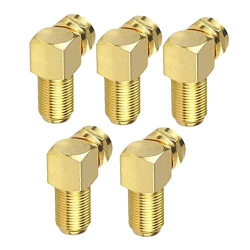 Conector de cable coaxial, tipo F coaxial RG6 cable de extensión adaptador chapado en oro 5PCS