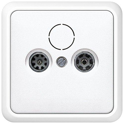 Komplett-Set Jung CD 500 Rahmen, 1-fach, bruchsicher - Alpinweiß, glänzend mit Abdeckung für Antennen-Steckdose + Antennendose, -JUNG- -weiß-