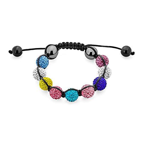 Bling Jewelry Unisex stolz Schmuck Multi Farbe Regenbogen Kristall Kugeln LGBTQ 12mm Perlen Bolo Armband Männer Frauen Teens verstellbare Makramee Strand
