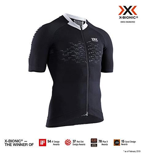 X-Bionic Herren The Trick 4.0 Bike Zip, Short Sleeve Shirt, Opal Black/Arctic White, L