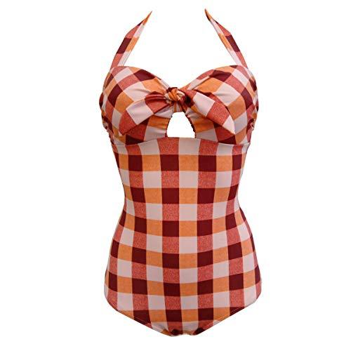 Viloree Bañador de una pieza para mujer Rockabilly de los años 50, con push up, para el vientre y el cuello, a cuadros A cuadros rojos. 36