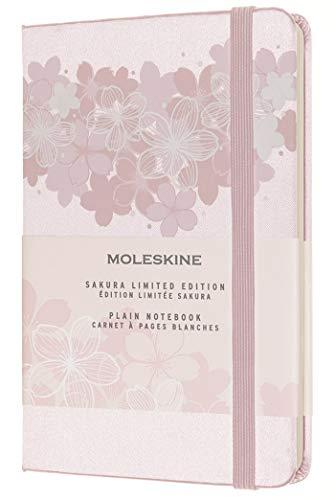 Moleskine - Cuaderno Edición Limitada, Cuaderno de Sakura con Gráficos Temáticos, Hojas Lisas y Tapa Dura de Tela, Tamaño de Bolsillo 9 x 14 cm, Color Rosa, 192 Páginas