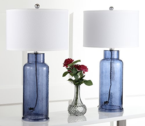 Safavieh Lighting Collection Bottle Glass Blue 29-inch Table Lamp (Set of 2)