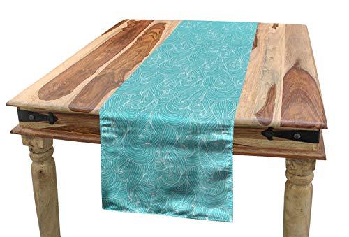 ABAKUHAUS Turquesa Camino de Mesa, Líneas mar Inspirado, Decorativo para el Comedor o Sala de Estar Fácil de Limpiar, 40 x 180 cm, Azul pálido Blanca