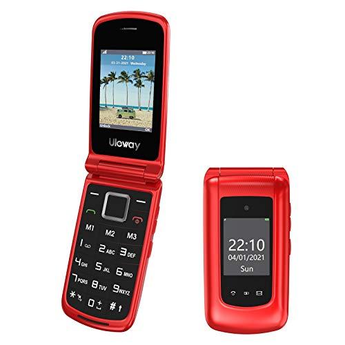Uleway 3G Seniorenhandy Klapphandy ohne Vertrag, Großtasten Mobiltelefon Einfach mit Notruftaste Dual-SIM Taschenlampe Kamera FM Radio 2,4 & 1,77 Zoll Farbdisplay - Rot