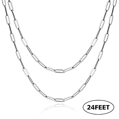 ALEXCRAFT 24 Feet Stainless Steel Paperclip Chain 4mm Link Chain Bulk for Jewelry Making