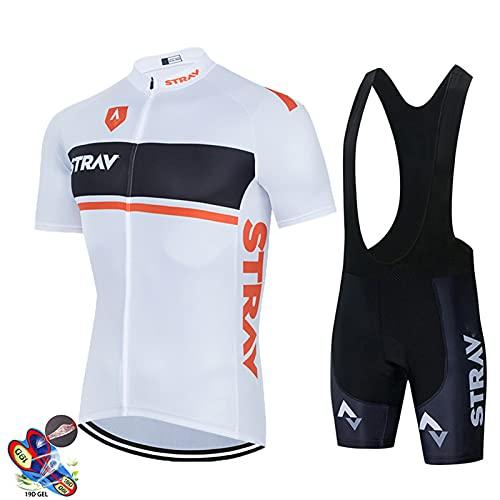 DNJKH Traje de Ciclismo Hombre Transpirable Jersey + Pantalones Cortos y Babero Acolchado para Ciclismo Deportes al Aire Libre