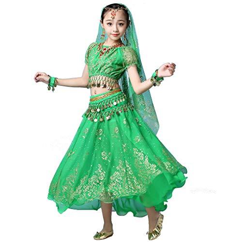 Magogo Mädchen Bauchtanz Kleid Bollywood Indian Folk Kids Arabian Performance Kostüm Karneval Outfit (105-130cm/41-51in, Grün)