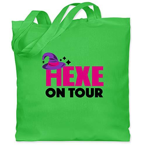 Shirtracer Halloween Kind - Hexe on tour - schwarz/fuchsia - Unisize - Hellgrün - Hexe on tour - WM101 - Stoffbeutel aus Baumwolle Jutebeutel lange Henkel