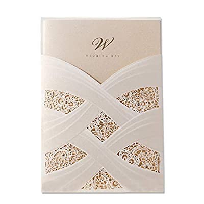 WISHMADE Laser Cut Wedding Invitations Cards Kit Ivory Glitter Bridal Shower Invite with 5x7 White Envelopes Lace Sleeve Pocket Cardstock Jofanza Produced by WISHMADE (50)