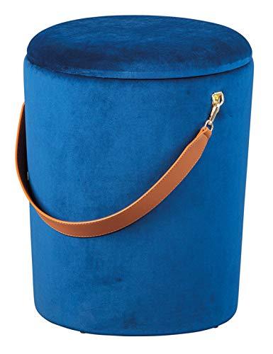 PEGANE Pouf Rond Tissu Bleu avec Sangle en Simili Cuir - Dim : 35 x 35 x 45 cm