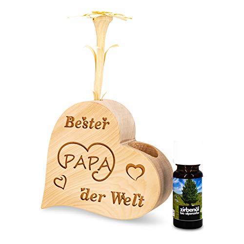 sagl.tirol holzmanufaktur Ensemble de parfum en pin avec cœur et edelweiss sculpté à la main - « Bester Papa der Welt » + huile de pin bio (10 ml)