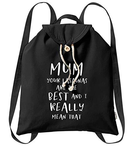 Flox Creative Sac à dos en coton bio « Mum Your Lasagnas are the Best », Noir (Noir) - 06627-BACKPACKTOTE-BLACK