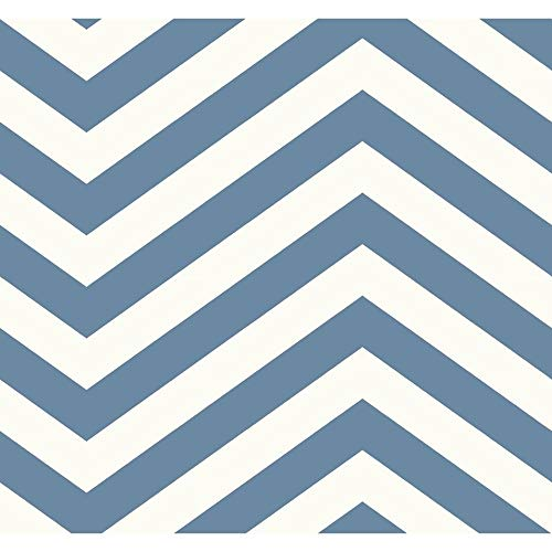 Jamaica Chevron Wallpaper in Teal White Blue Modern Contemporary Paper