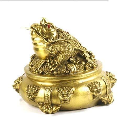 QJL_ANA Hogar y Decoración Escultura Oficina Feng Shui adornos de la mascota de latón dinero rana Estatua con monedas extraíble Lucky antiguas, estatuas preciosas que pueden atraer la riqueza y de neg
