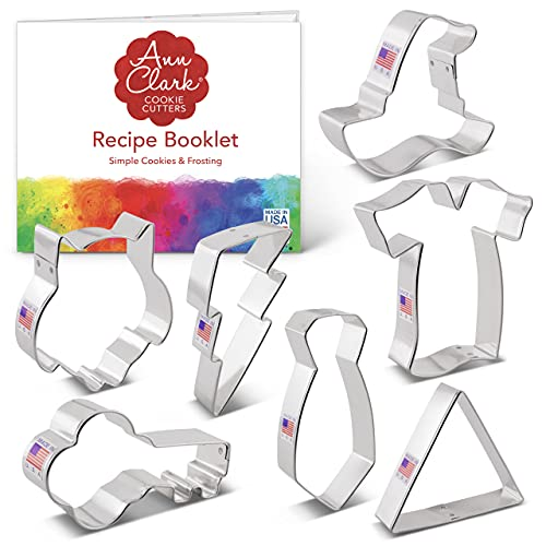 Ann Clark Cookie Cutters 7-Piece Witchcraft and Wizardry Cookie Cutter Set with Recipe Booklet, Robe, Tie, Owl, Lightning Bolt, Witch's Hat, Triangle and Key