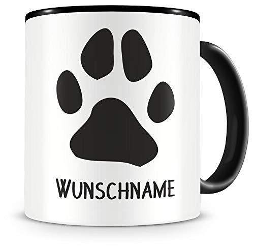 Samunshi® Pfote mit Name personalisierbar Hund Katze Tasse Kaffeetasse Teetasse Kaffeepott Kaffeebecher Becher