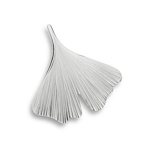 Quality4You Elegante Ginkgo-Brosche in Form eines schönen Ginkgo-Blatts aus 925 Silber, 3,5 cm x 3,5 cm groß, handgefertigt in der Goldstadt Pforzheim