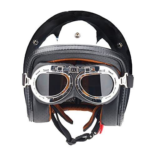 YAYT Casco Reflectante de Espejo Abierto para Motocicleta, Abierto para Adultos Plateado, con Casco y Espejo de Burbujas Plateado Aprobado por Dot/ECE (S ~ XXL)