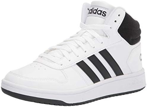 adidas Men s Hoops 2 0 Mid Basketball Shoe White Black Black 10 product image