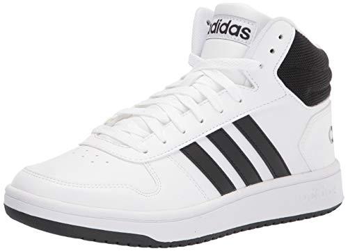adidas Men's Hoops 2.0 Mid Basketball Shoe, White/Black/Black, 10