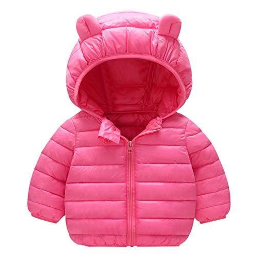 C- Baby Winter Weste Mantel mit Kapuze Kinderjacke Steppweste Kleinkind Langarm Warm Gepolstert Outwear Daunenweste Winter Kapuzenweste Mantel Outwear Warm Winterjacke (Pink, 6-12 M)