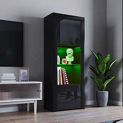 2 Door LED Tall Display Sideboards Matt Body & High Gloss Fronts Storage Cabinet with Glass Shelf for Living Dining Room W 62 x D 35 x H 160cm (All Black)