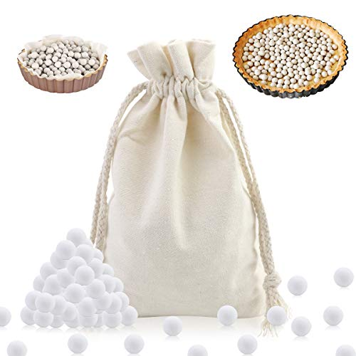 LeonBach 2.2 LB 10mm White Pie Weights with Canvas Bag, Ceramic Pie Weights Baking Beans Baking Beads Pie Pan Stoneware
