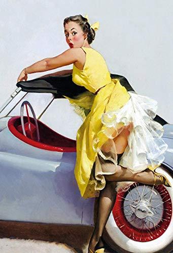 Schatzmix Pinup Girl gele jurk auto metalen bord 20x30 deco tin Sign blikken bord, blik, meerkleurig, 20x30 cm