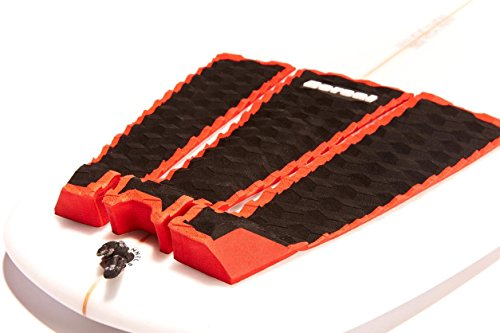 DORSAL 3 Peice Surfboard Tail Traction Pad Black with Red Outline